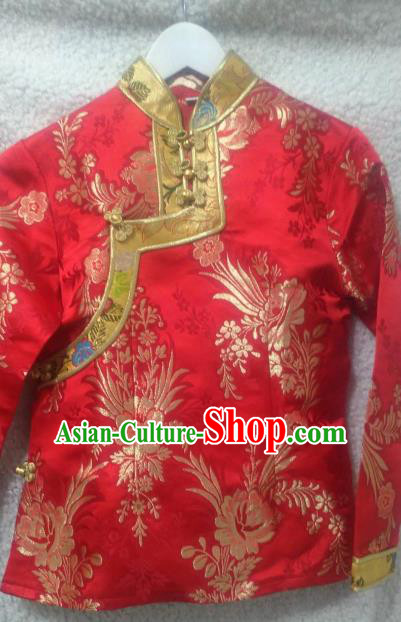 Chinese Traditional Red Tibetan Blouse Minority Costume Zang Nationality Clothing for Women