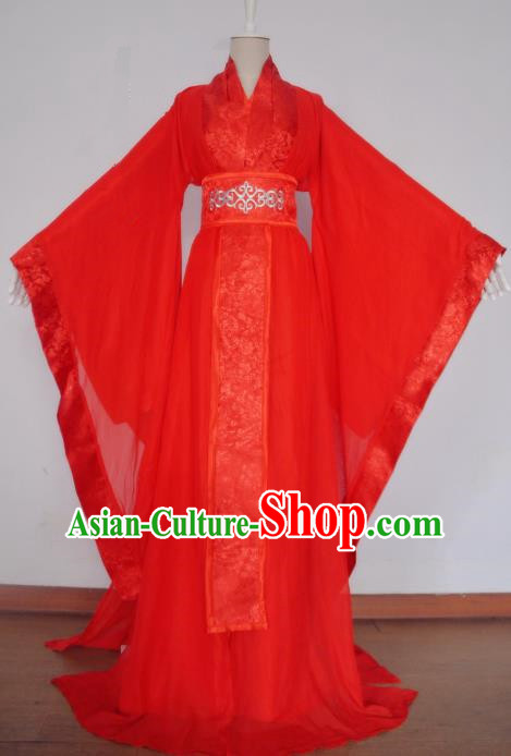 Chinese Han Dynasty Imperial Empress Red Hanfu Dress Ancient Fairy Traditional Costume for Women