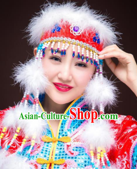 Chinese Traditional Folk Dance Red Hat Hair Accessories, Mongolian Minority Princess Feather Headwear for Women
