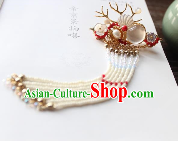 Chinese Ancient Handmade Tassel Dragon Horn Hair Claw Hair Accessories Hanfu Hairpins for Women