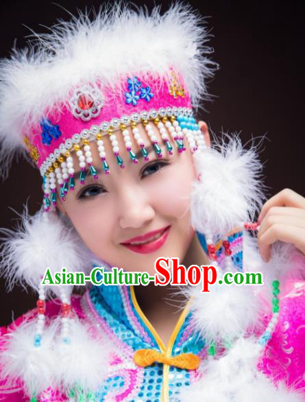 Chinese Traditional Folk Dance Rosy Hat Hair Accessories, Mongolian Minority Princess Feather Headwear for Women