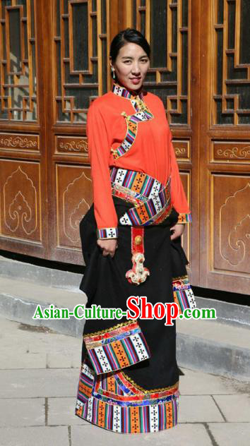 Chinese Traditional Black Tibetan Robe Minority Costume Zang Nationality Clothing for Women
