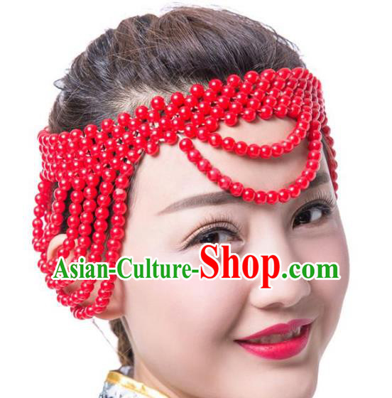 Chinese Traditional Folk Dance Hair Accessories Red Beads Hair Clasp, Mongolian Minority Dance Headwear for Women