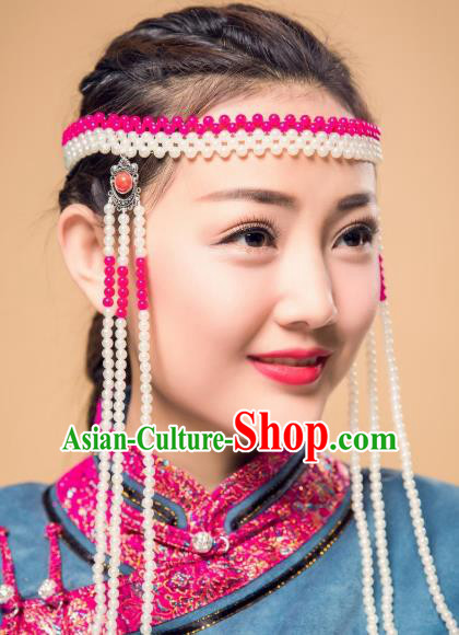 Chinese Traditional Ethnic Tassel Hair Accessories, Mongolian Minority Folk Dance Headwear for Women
