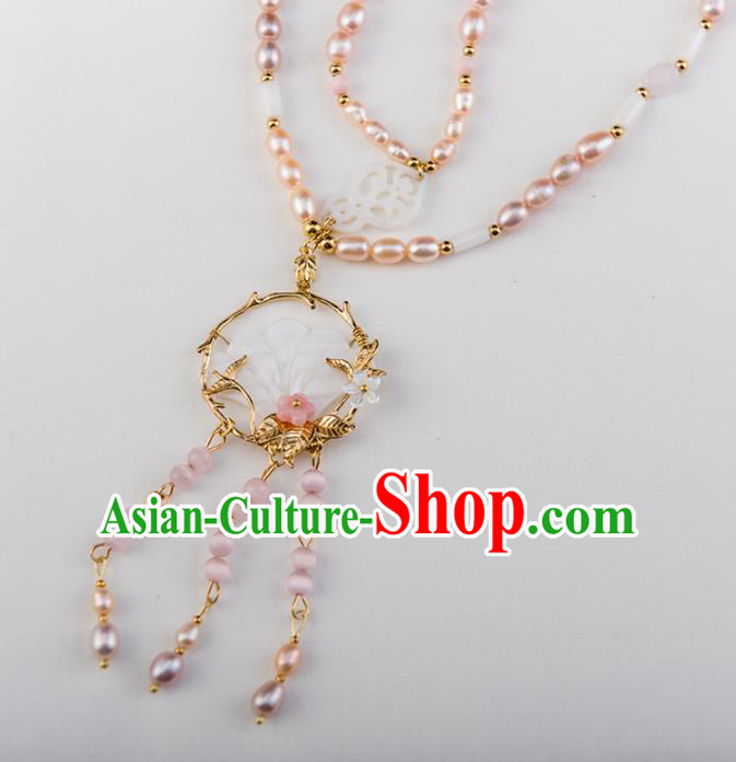 Chinese Ancient Handmade Necklace Jewelry Accessories Hanfu Pearls Necklet for Women
