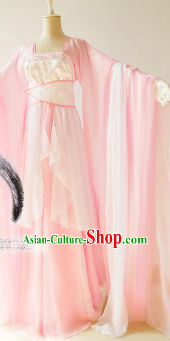 Chinese Traditional Tang Dynasty Princess Pink Hanfu Dress Ancient Fairy Clothing for Women