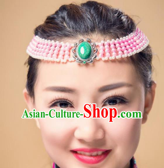 Chinese Traditional Ethnic Pink Beads Hair Accessories, Mongolian Minority Folk Dance Headwear for Women