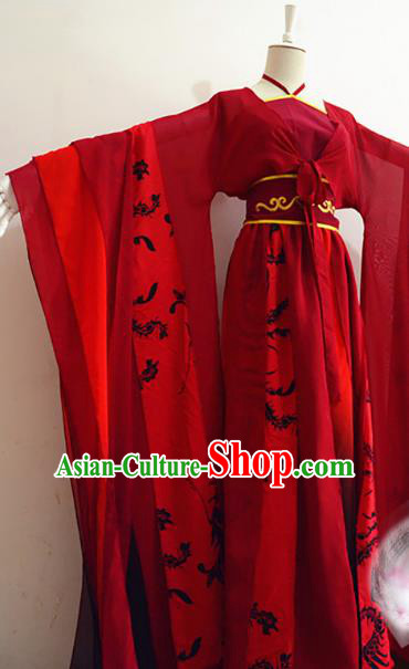 Chinese Tang Dynasty Imperial Concubine Red Hanfu Dress Ancient Fairy Traditional Clothing for Women