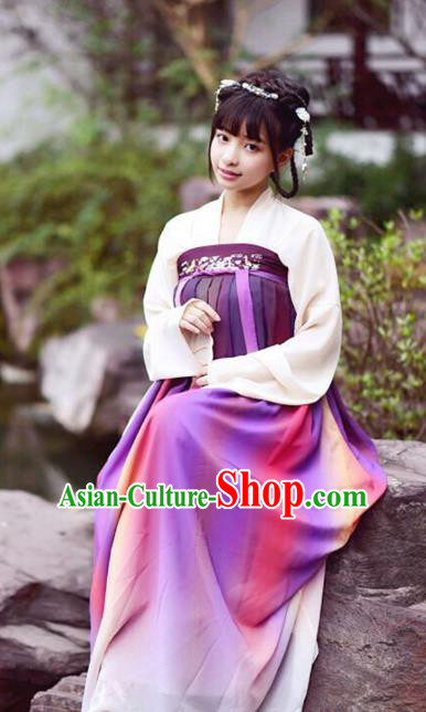 Chinese Traditional Tang Dynasty Young Lady Dress Ancient Court Maid Clothing for Women