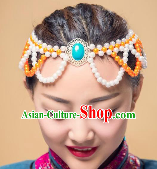 Chinese Traditional Mongol Ethnic Hair Accessories, Mongolian Minority Folk Dance Orange Beads Tassel Headwear for Women
