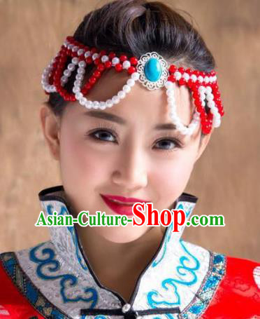 Chinese Traditional Mongol Ethnic Hair Accessories, Mongolian Minority Folk Dance Red Beads Tassel Headwear for Women