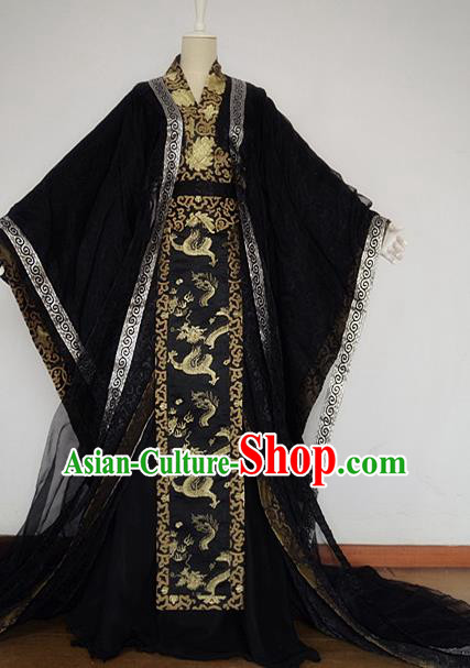 Chinese Han Dynasty Royal Highness Black Hanfu Ancient Swordsman Clothing for Men