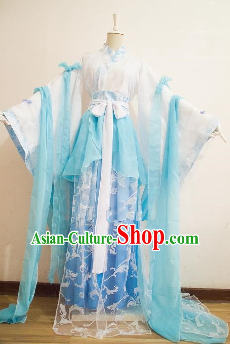Chinese Song Dynasty Princess Blue Hanfu Dress Ancient Fairy Traditional Costume for Women
