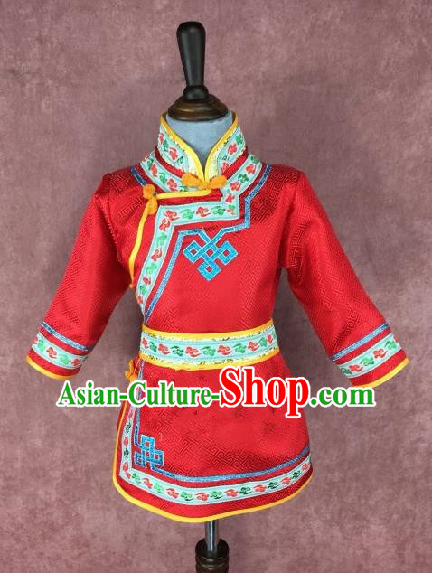 Chinese Traditional Ethnic Costume Children Red Mongolian Robe, China Mongolian Minority Folk Dance Clothing for Kids