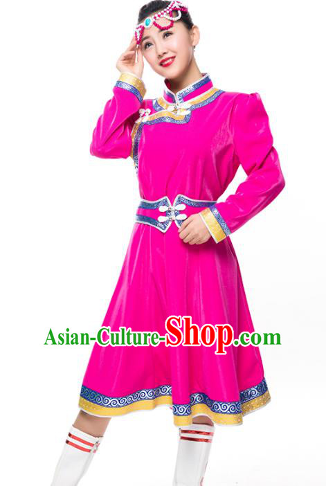 Chinese Traditional Female Ethnic Costume Rosy Mongolian Robe, China Mongolian Minority Folk Dance Clothing for Women
