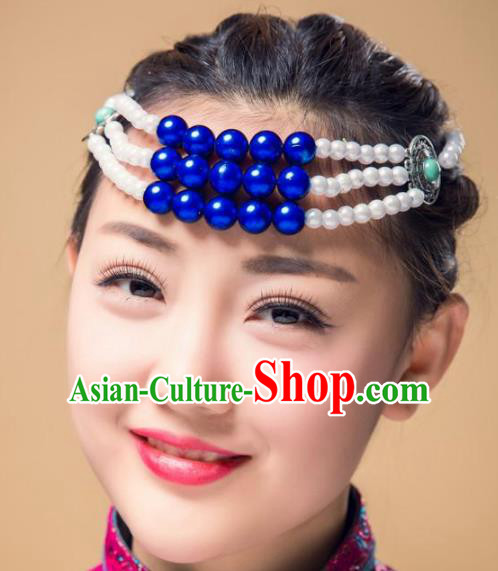Traditional Chinese Folk Dance Beads Hair Accessories, Mongolian Minority Hair Jewelry Dance Headwear for Women