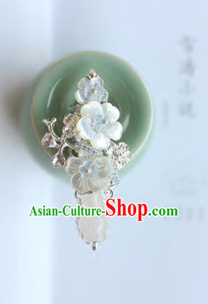 Chinese Ancient Handmade Palace White Vase Hair Claw Hair Accessories Hanfu Tassel Hairpins for Women