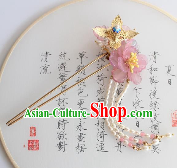 Chinese Ancient Handmade Palace Pink Flower Hair Clip Hair Accessories Hanfu Hairpins for Women