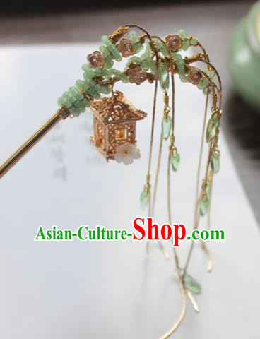 Chinese Ancient Handmade Palace Golden Hair Clip Hair Accessories Hanfu Tassel Hairpins for Women