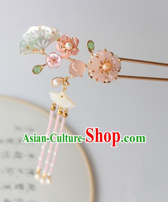 Chinese Ancient Handmade Shell Fan Hair Clip Hair Accessories Hanfu Tassel Hairpins for Women