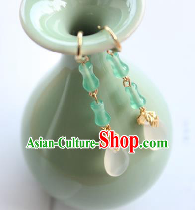 Chinese Ancient Handmade Green Bamboo Earrings Accessories Hanfu Eardrop for Women