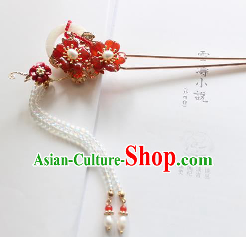 Chinese Ancient Handmade Palace Red Paeonia Hair Clip Hair Accessories Hanfu Hairpins for Women