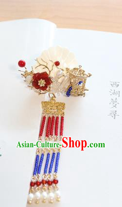 Chinese Ancient Handmade Palace Shell Tassel Hair Claw Hair Accessories Hanfu Hairpins for Women