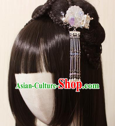 Chinese Ancient Handmade Shell Tassel Hair Claw Hair Accessories Hanfu Hairpins for Women