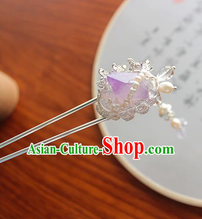 Chinese Ancient Handmade Purple Fluorite Hair Claw Hair Accessories Hanfu Hairpins for Women