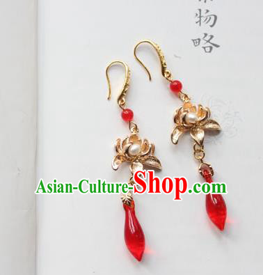 Chinese Ancient Handmade Hanfu Brass Lotus Earrings Accessories Eardrop for Women