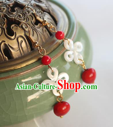 Chinese Ancient Handmade Hanfu Chinese Knot Earrings Accessories Eardrop for Women