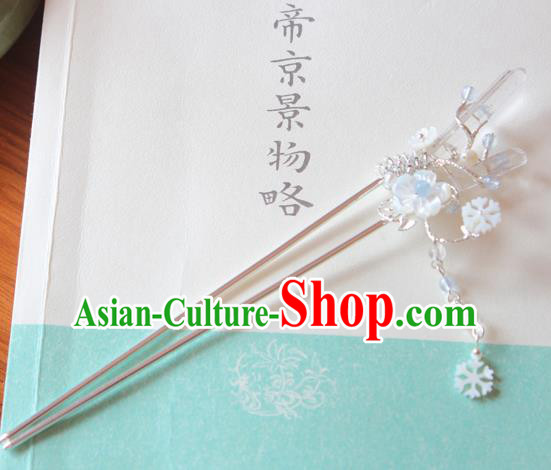 Chinese Ancient Handmade Crystal Hair Clip Tassel Step Shake Hair Accessories Hanfu Hairpins for Women