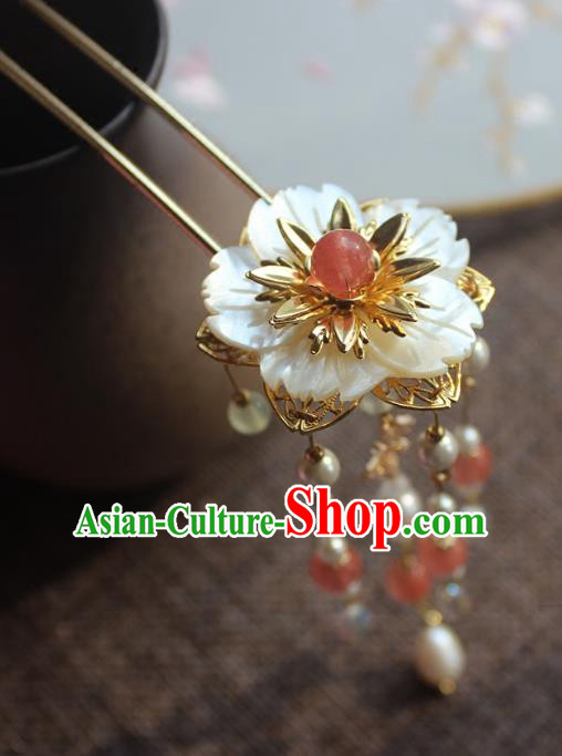 Chinese Ancient Handmade Shell Flower Hair Clip Classical Hair Accessories Hanfu Pearls Hairpins for Women