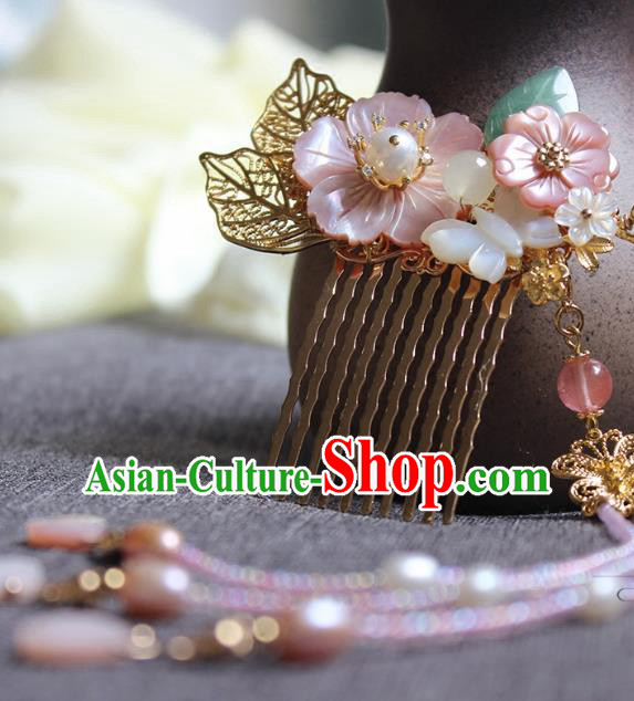 Chinese Ancient Handmade Tassel Hair Comb Classical Hair Accessories Hanfu Hairpins for Women