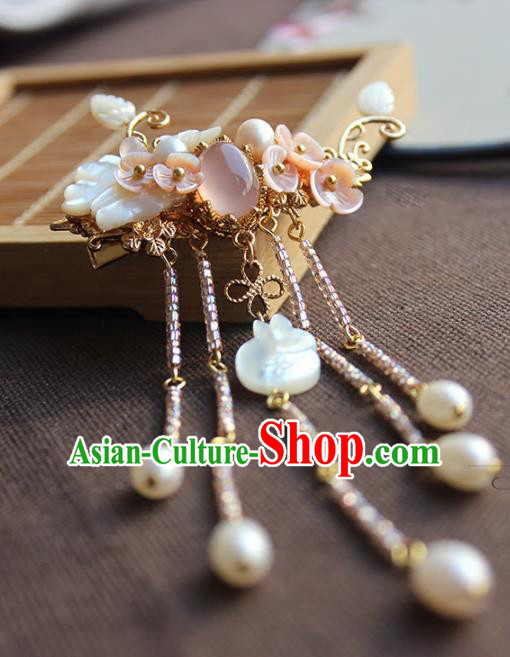 Chinese Ancient Handmade Pearls Tassel Hair Claw Classical Hair Accessories Hanfu Hairpins for Women
