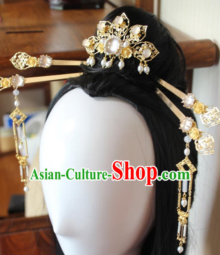 Chinese Ancient Handmade Brass Hair Clips Step Shake Hair Accessories Hanfu Hairpins Complete Set for Women