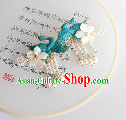 Chinese Ancient Handmade Classical Blueing Crane Hair Claws Hair Accessories Hanfu Hairpins for Women