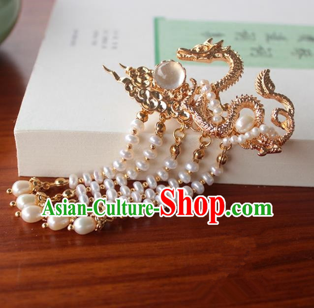 Chinese Ancient Handmade Classical Golden Dragon Hair Claw Hair Accessories Hanfu Tassel Hairpins for Women