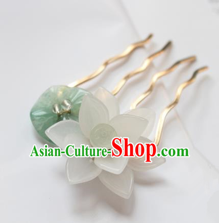 Chinese Ancient Handmade Lotus Hair Comb Hair Accessories Hanfu Hairpins for Women