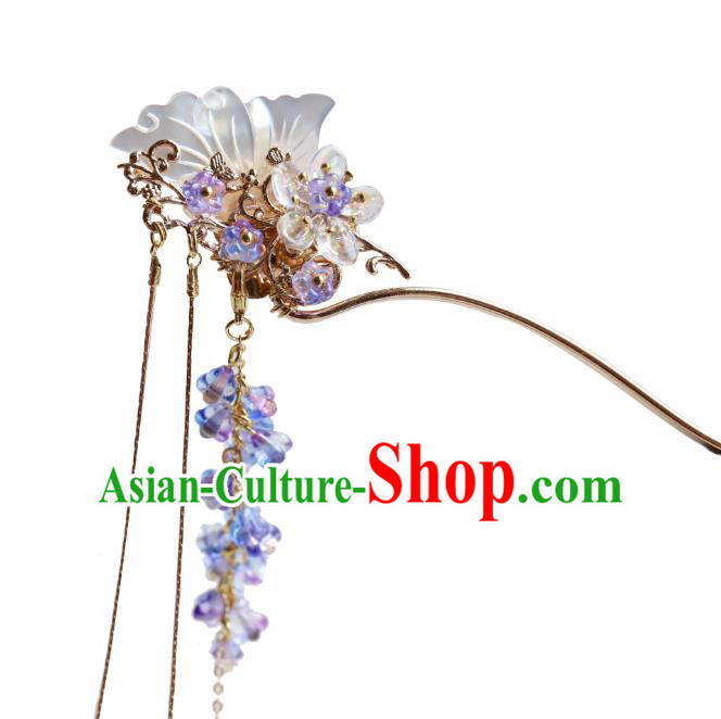 Chinese Ancient Handmade Classical Shell Butterfly Hair Clip Hair Accessories Hanfu Hairpins for Women