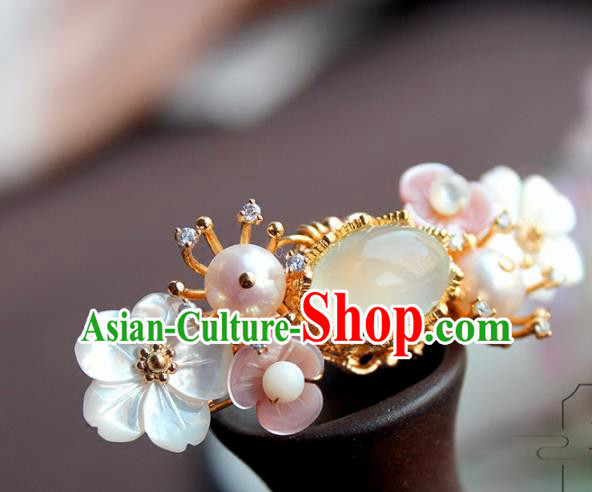 Chinese Ancient Handmade Classical Chalcedony Hair Claw Hair Accessories Hanfu Hairpins for Women