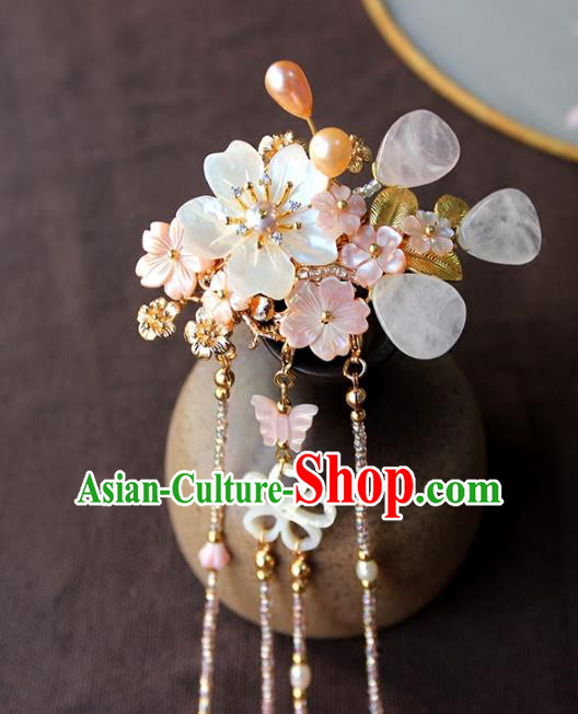 Chinese Ancient Handmade Shell Pearls Hair Claw Classical Hair Accessories Hanfu Hairpins for Women