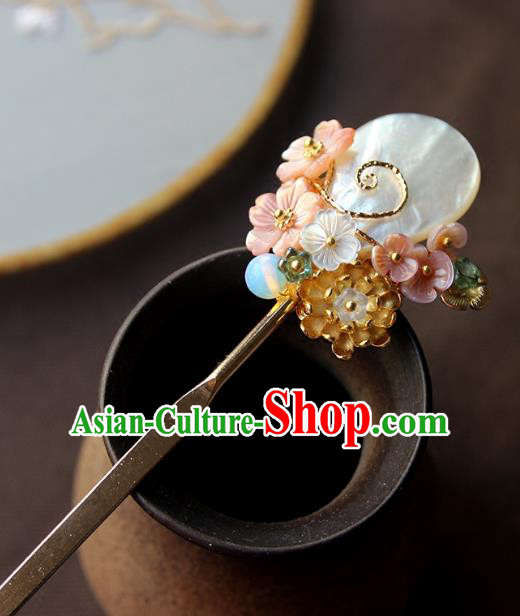 Chinese Ancient Handmade Hair Clip Classical Hair Accessories Hanfu Shell Hairpins for Women
