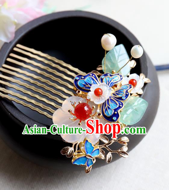 Chinese Ancient Handmade Bride Hair Comb Classical Hair Accessories Hanfu Blueing Butterfly Hairpins for Women