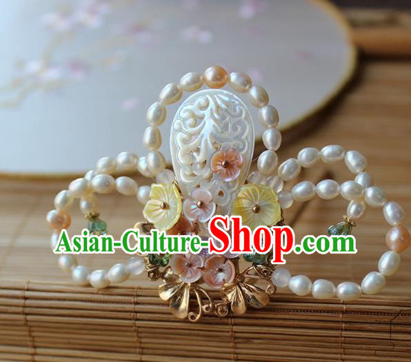 Chinese Ancient Handmade Pearls Hair Clip Classical Hair Accessories Hanfu Shell Hairpins for Women