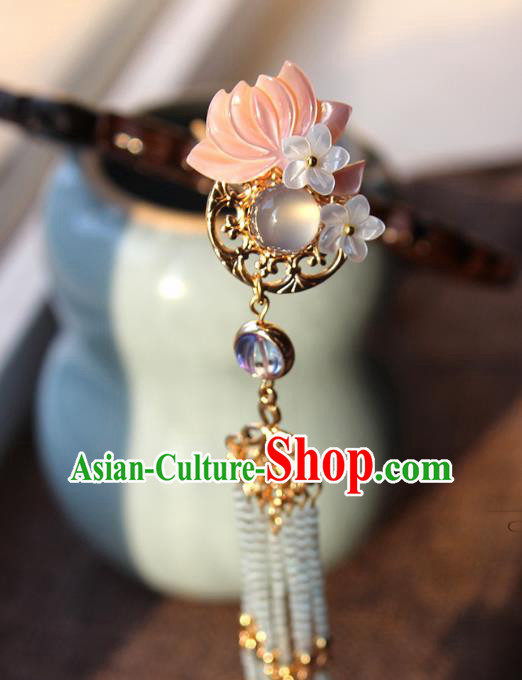 Chinese Ancient Handmade Lotus Hair Comb Classical Hair Accessories Hanfu Shell Hairpins for Women