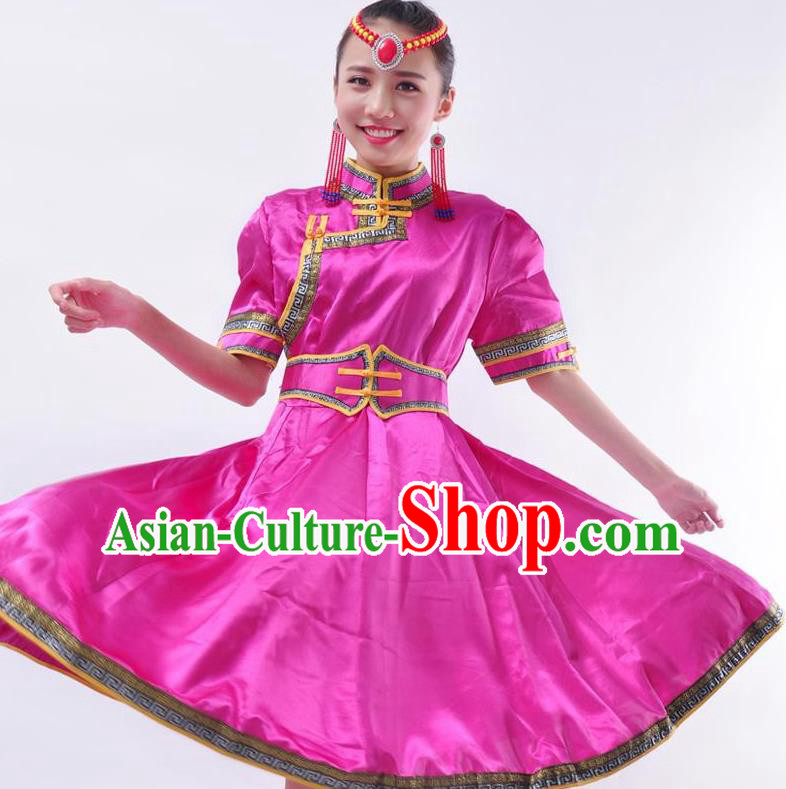 Chinese Mongol Nationality Costume Rosy Dress Traditional Mongolian Minority Clothing for Women