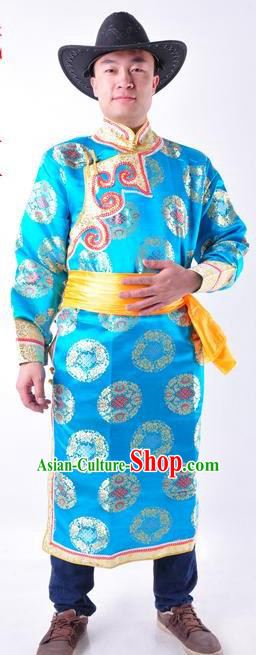 Chinese Mongol Nationality Costume Traditional Mongolian Minority Folk Dance Blue Robe for Men