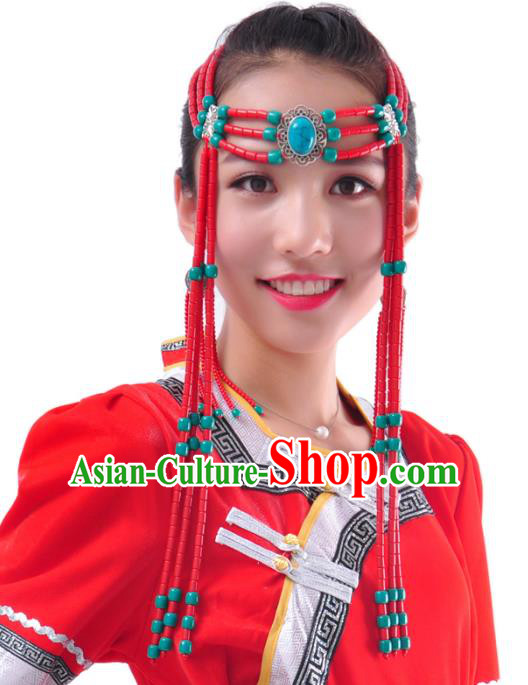 Chinese Handmade Mongol Nationality Hair Accessories Mongolian Red Beads Tassel Hair Clasp for Women