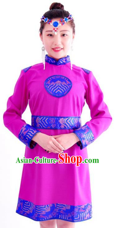 Chinese Mongol Nationality Costume Traditional Mongolian Minority Purple Dress for Women